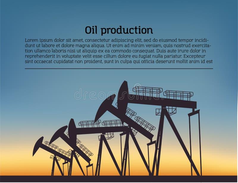Erdöl förderndes Anlage silouette Schwarzes Piktogramm auf Farbhintergrund Vektorillustration mit Text lizenzfreie abbildung