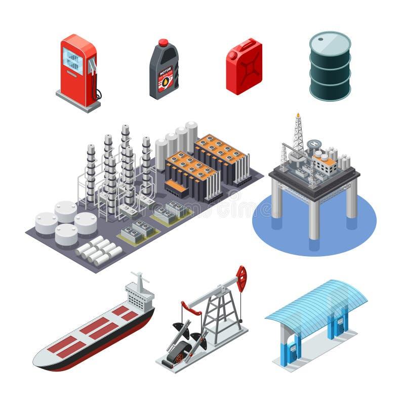 Erdölindustrie-isometrische Ikonen eingestellt stock abbildung