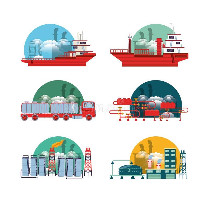 Erdölindustrie mit Raffinerieanlage vektor abbildung