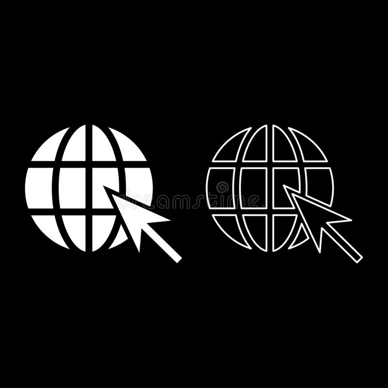 Erdball und Netzinternet-Konzept Bereich des Pfeiles globaler und Pfeil Websitesymbolikonenentwurf stellten weiße Farbvektorillus stock abbildung