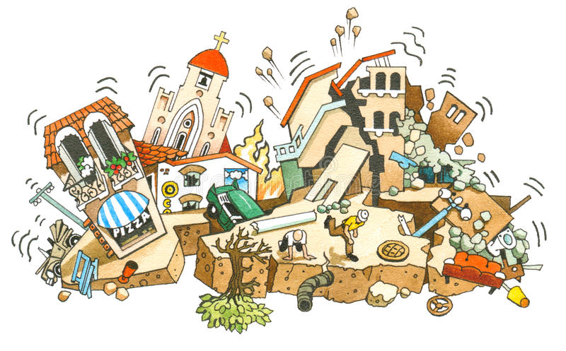 Erdbeben stock abbildung
