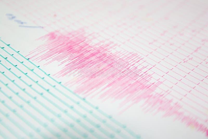 Erdbebenwelle auf einem Zeichenpapier mit Maßeinteilung lizenzfreies stockbild