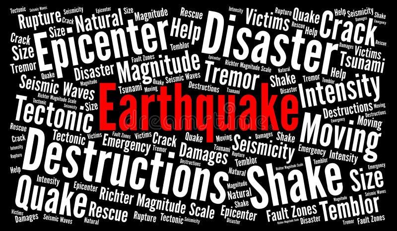 Erdbebenwort-Wolkenillustration stock abbildung