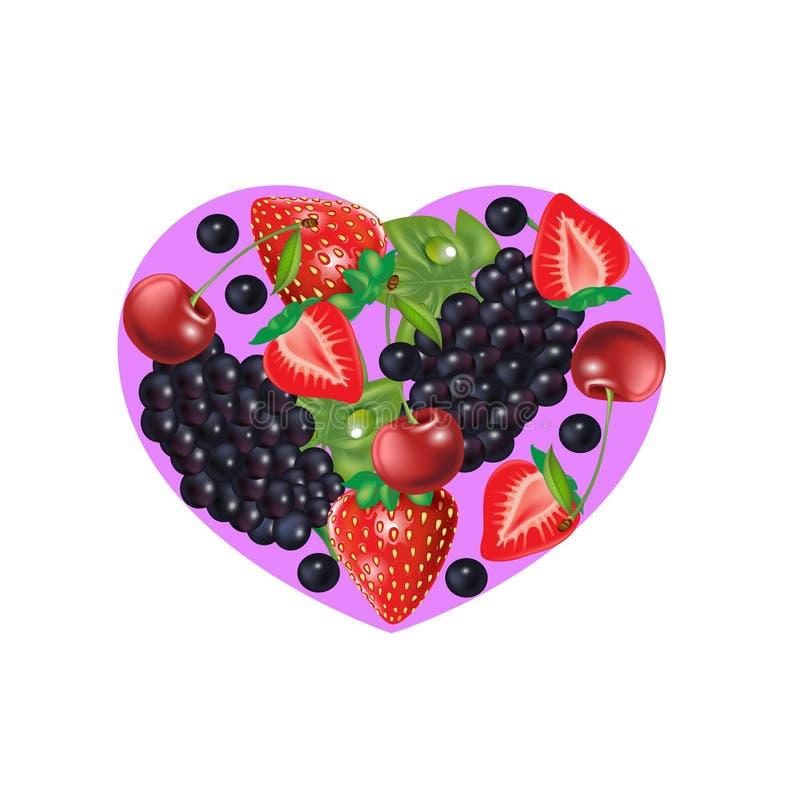 Erdbeer-, Kirsch- und Traubenherzform lokalisiert auf Weiß lizenzfreie abbildung