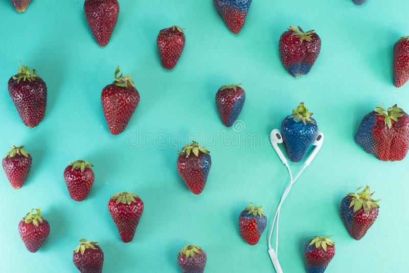 Erdbeeransteckendes Blau lizenzfreie stockfotografie