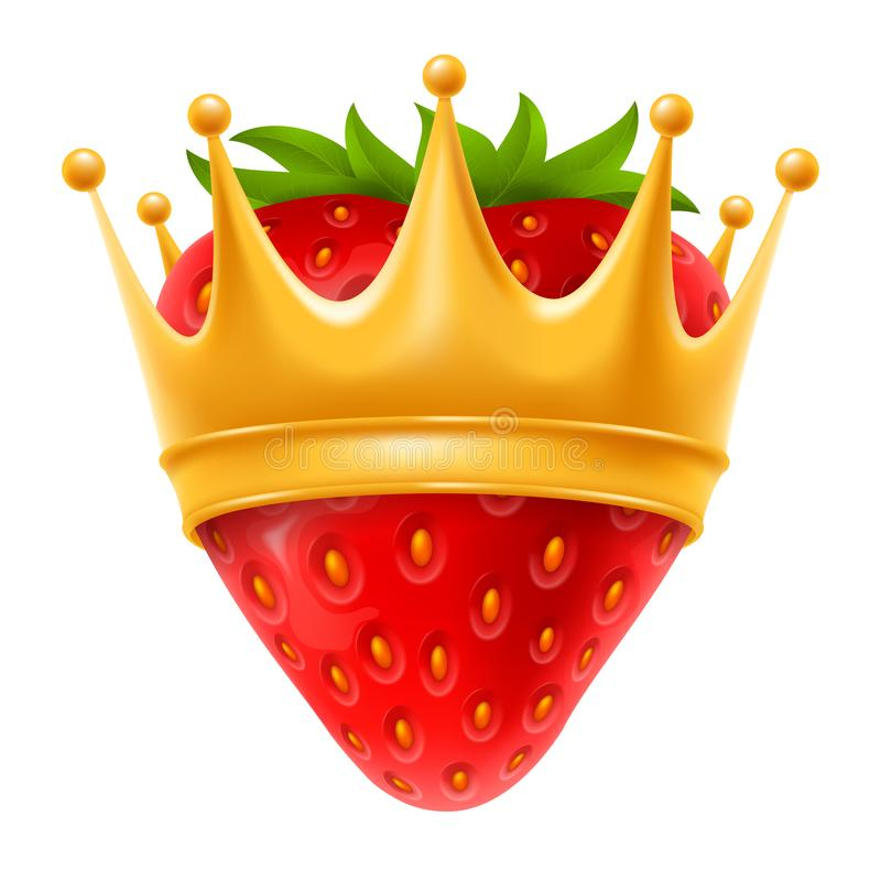 Erdbeere in der goldenen Krone vektor abbildung