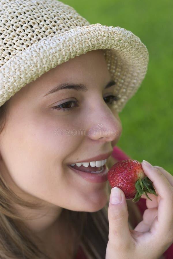 Erdbeere-Frau Stockbild