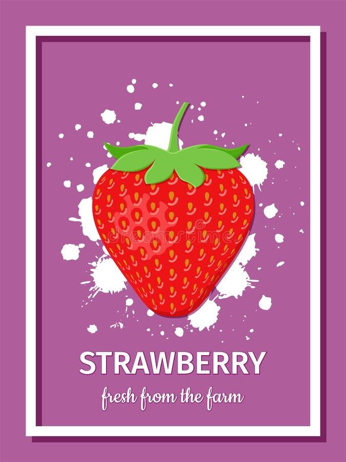 Erdbeere frisch vom Bauernhof, Plakat Auch im corel abgehobenen Betrag lizenzfreie abbildung