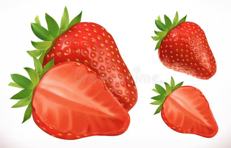 Erdbeere Frische Frucht Ikone des Vektor 3d stock abbildung