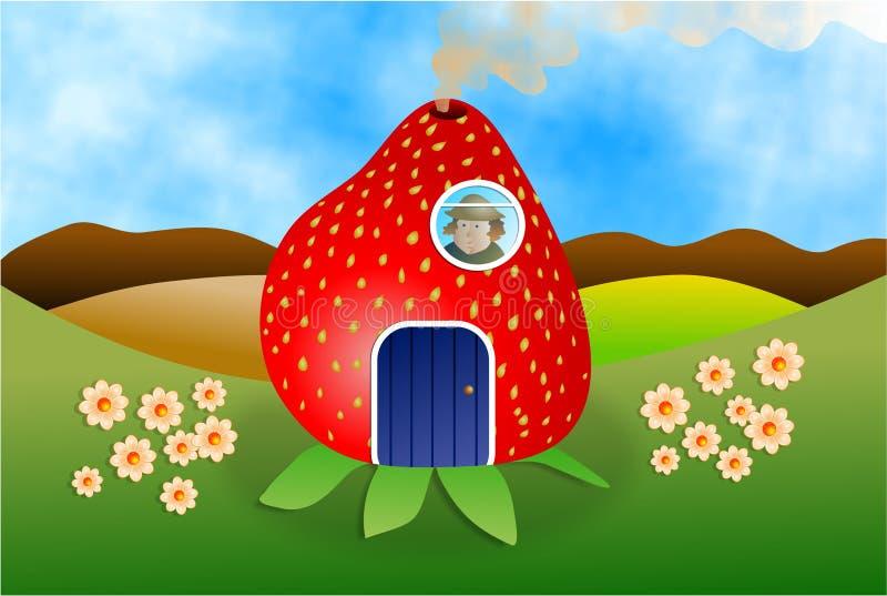 Erdbeere-Haus vektor abbildung