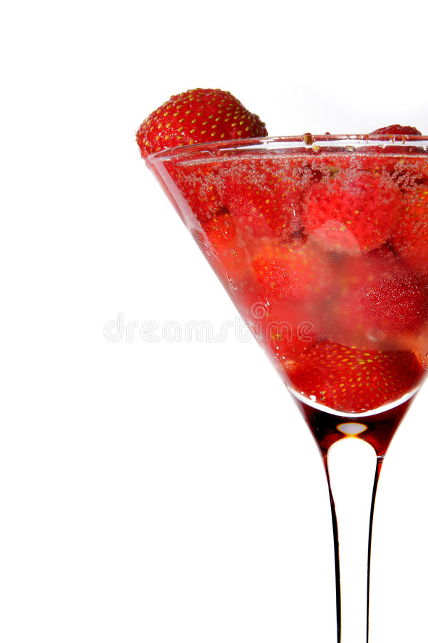 Erdbeere im Martini-Glas mit Champagner stockfotos