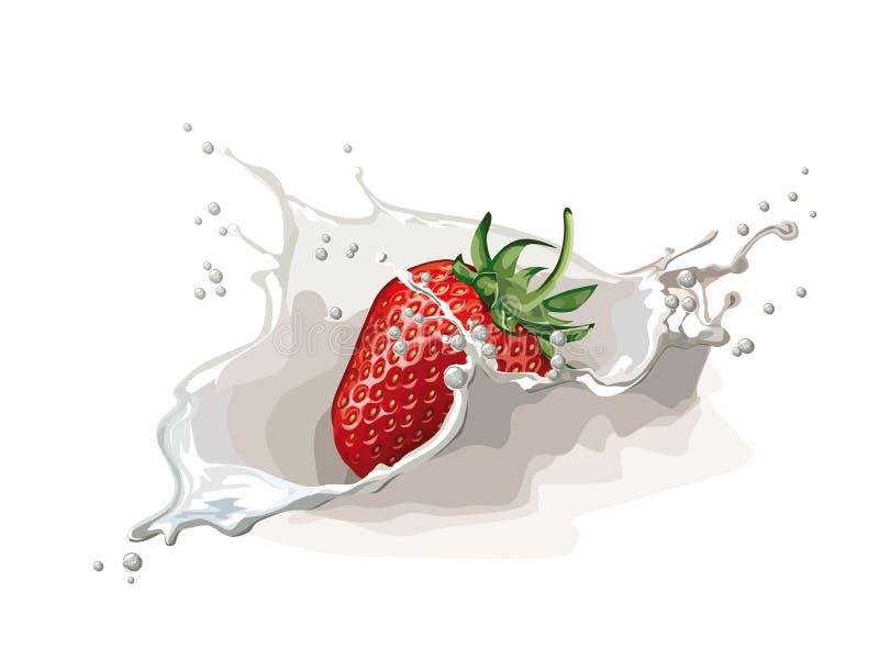 Erdbeere mit Sahne lizenzfreie abbildung