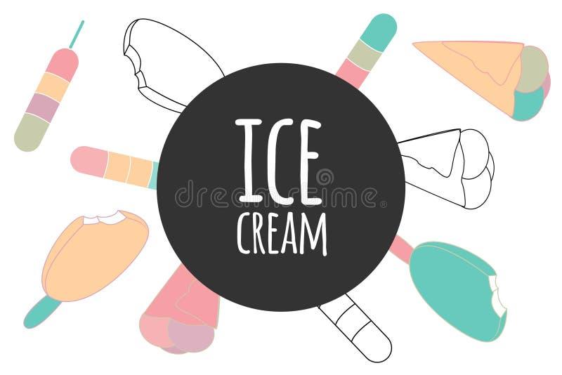 Erdbeere-, Schokoladen-, Vanille- und Pistazieeiscremekegel über weißem Hintergrund Element für Ihr Design: Café, Rezept, vektor abbildung