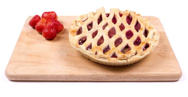 Erdbeere und Apfelkuchen lizenzfreies stockbild