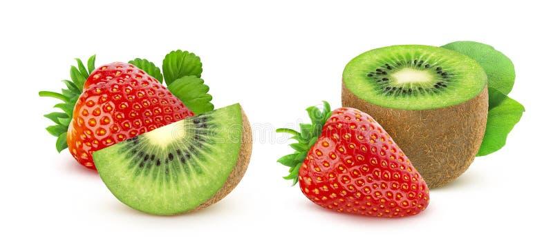 Erdbeere und Kiwi lokalisiert auf weißem Hintergrund lizenzfreies stockfoto