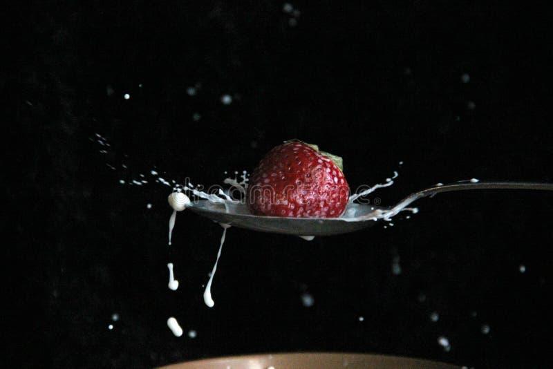 Erdbeere und Milch lizenzfreie stockfotos