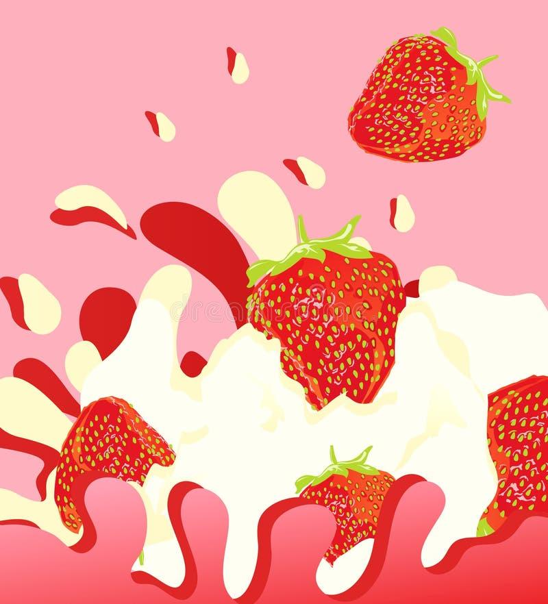 Erdbeere yougurt lizenzfreie abbildung