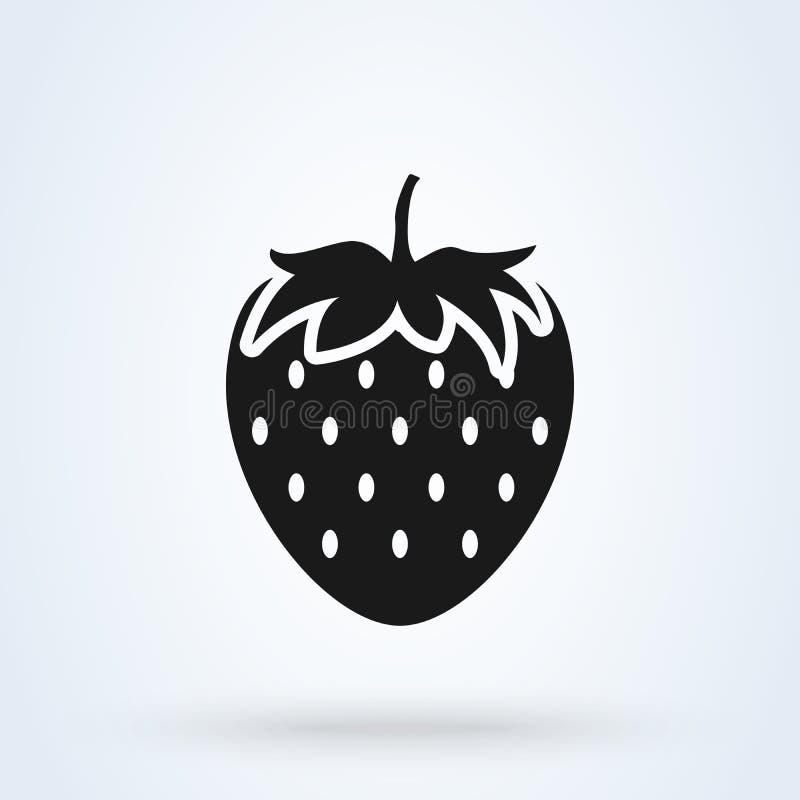 Erdbeereinfache flache Art Vektorillustrationsikone lokalisiert auf wei?em Hintergrund stockbild