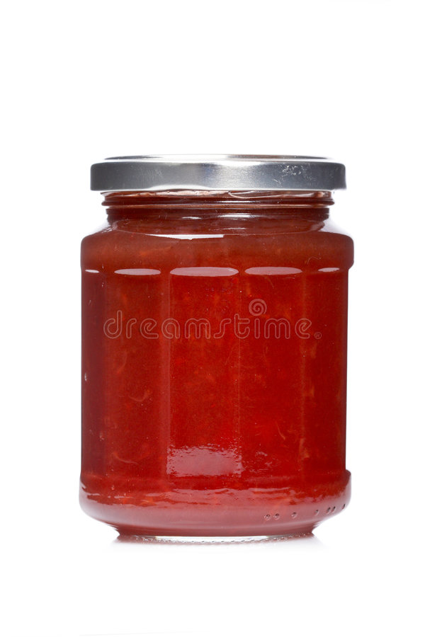 Erdbeeremarmeladen-Glasglas lizenzfreie stockfotos