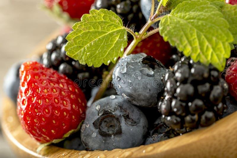Erdbeeren, Brombeeren und Blaubeeren schließen oben stockfotografie