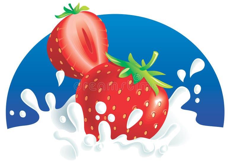 Erdbeeren, die in der Milch spritzen stock abbildung