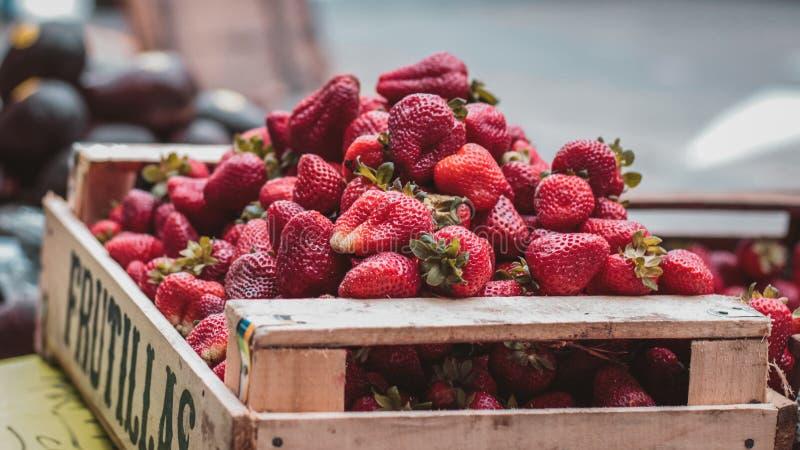 Erdbeeren in einem hölzernen Käfig lizenzfreies stockfoto