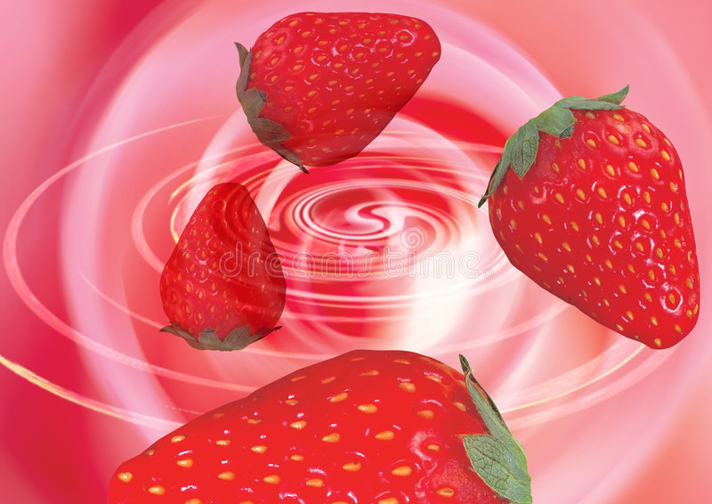 Erdbeeren in einem Strudel stockfoto