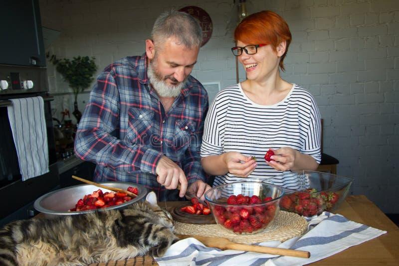 Erdbeeren erwachsener Paarmann und der Frauenschale und -schnittes für Erdbeermarmelade, ziehen sich, Spaß, Maine Coon zu lachen  stockbilder