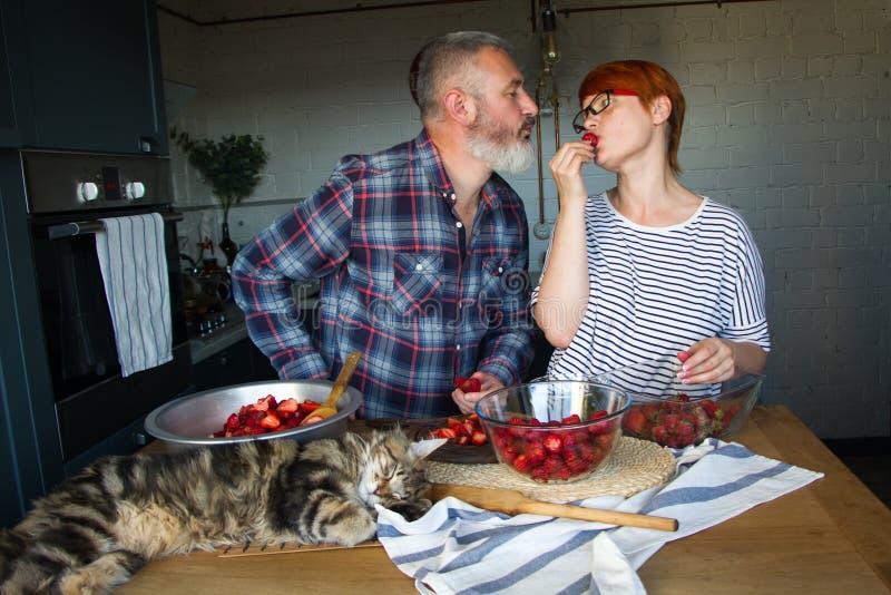 Erdbeeren erwachsener Paarmann und der Frauenschale und -schnittes für Erdbeermarmelade, ziehen sich, Spaß, Maine Coon zu lachen  lizenzfreie stockfotos