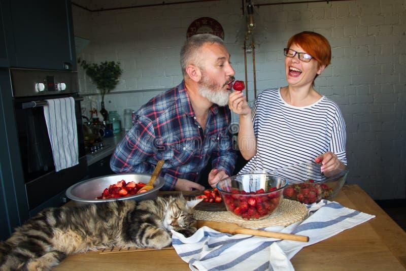 Erdbeeren erwachsener Paarmann und der Frauenschale und -schnittes für Erdbeermarmelade, ziehen sich, Spaß, Maine Coon zu lachen  lizenzfreies stockfoto