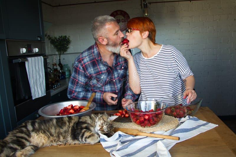 Erdbeeren erwachsener Paarmann und der Frauenschale und -schnittes für Erdbeermarmelade, ziehen sich, Spaß, Maine Coon zu lachen  stockbild