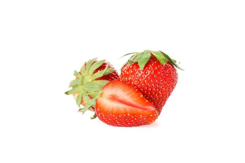 Erdbeeren lokalisiert auf wei?em Hintergrund Sommerbonbonfr?chte lizenzfreie stockfotos