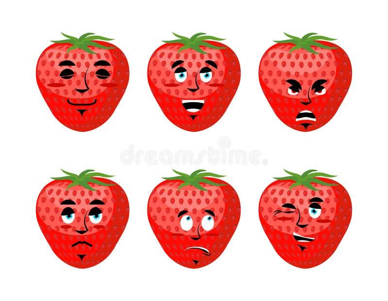 Erdbeergefühle eingestellt Rotes Beerenübel und gut lizenzfreie abbildung