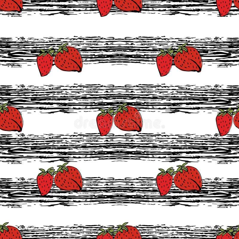 Erdbeerhand gezeichnetes Muster auf schwarzen Streifen vektor abbildung