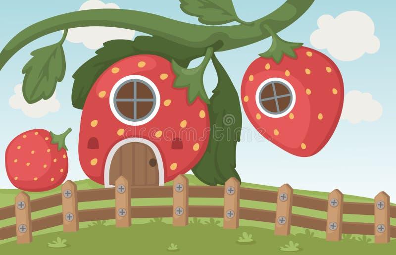 Erdbeerhaus lizenzfreie abbildung