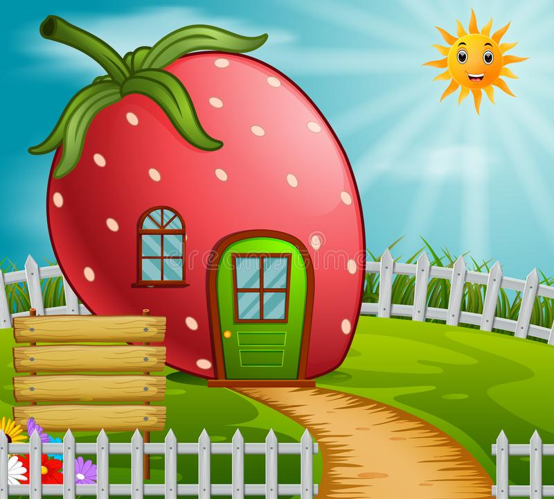 Erdbeerhaus im Garten lizenzfreie abbildung