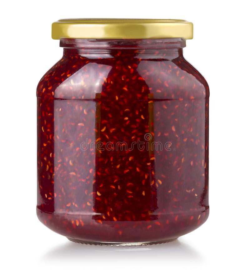Erdbeermarmeladenglas lokalisiert lizenzfreie stockfotografie