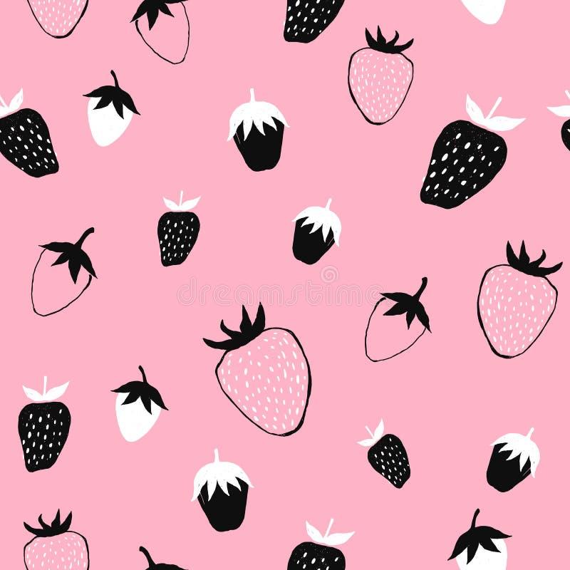Erdbeernahtloses Muster für Gewebeentwurf Vektorwiederholungshintergrund Handgezogenes Beeren- schwarz, weißes und rosamodisches vektor abbildung