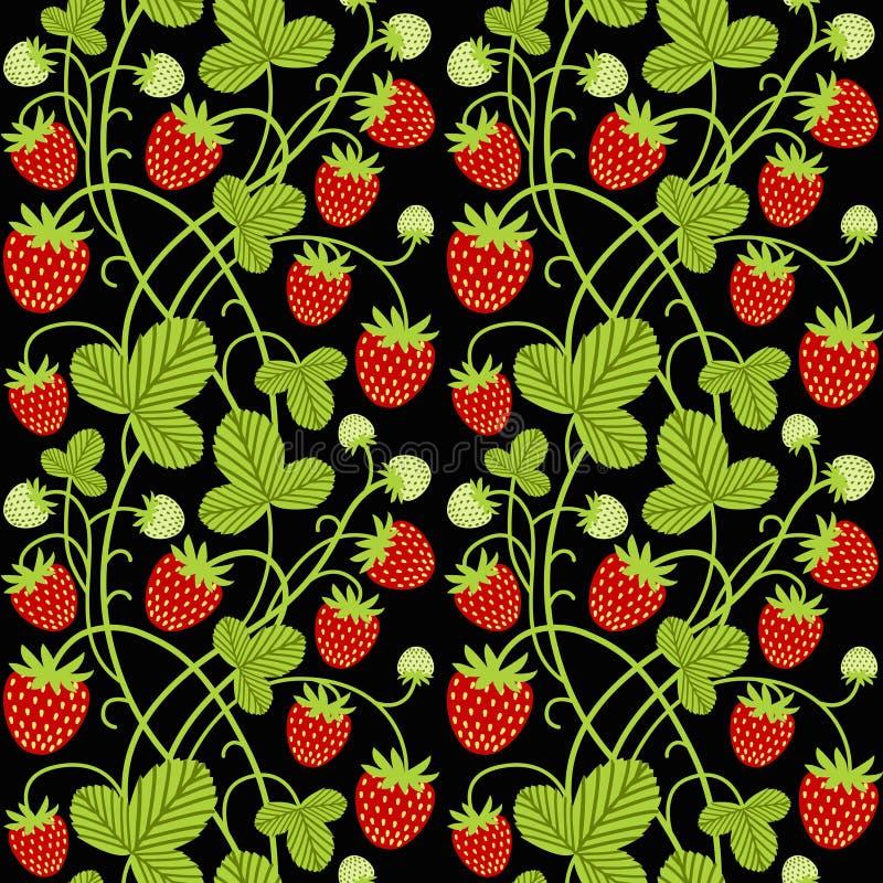 Erdbeernahtloses Vektormuster auf schwarzem Hintergrund stock abbildung
