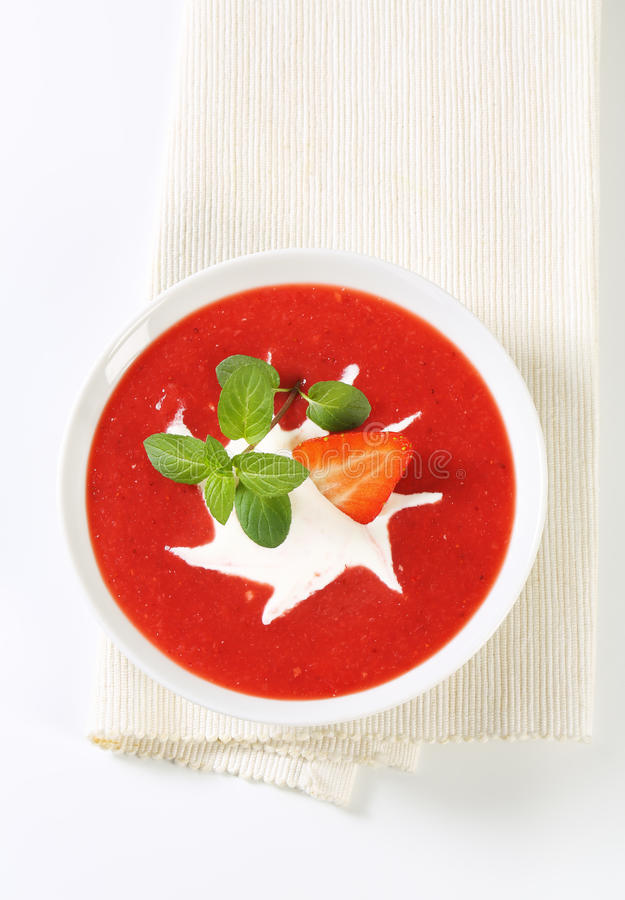 Erdbeerpüree mit Creme stockbilder