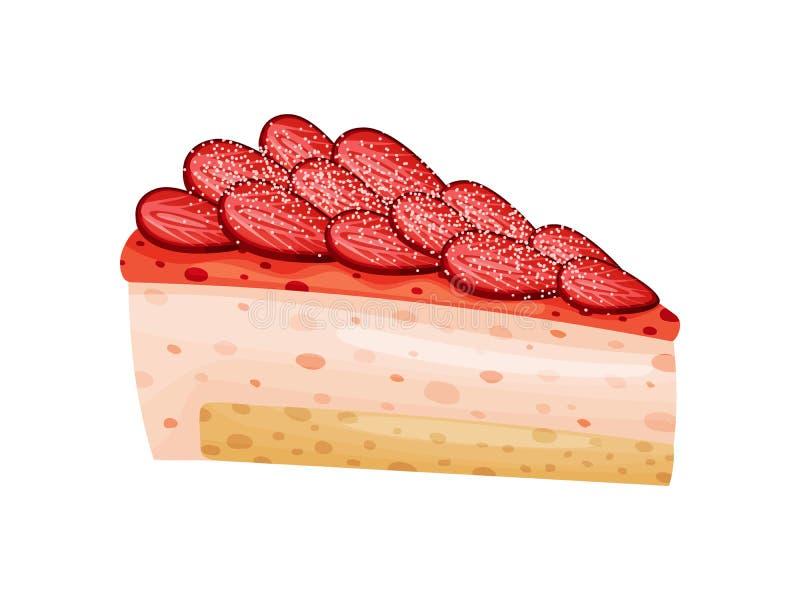 Erdbeerrosakäsekuchen Vektorabbildung auf wei?em Hintergrund stock abbildung