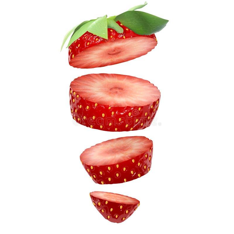 Erdbeerscheiben lokalisiert auf dem weißen Hintergrund Vektorauf lagerabbildung stock abbildung