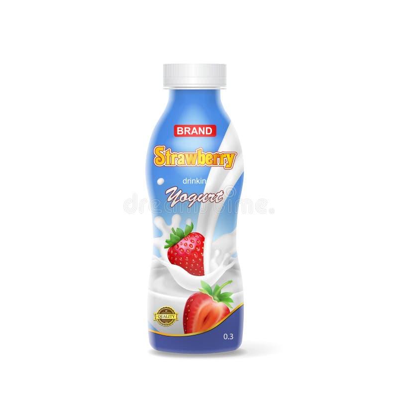 Erdbeertrinkender Jogurt, der Plastikflasche verpackt stock abbildung