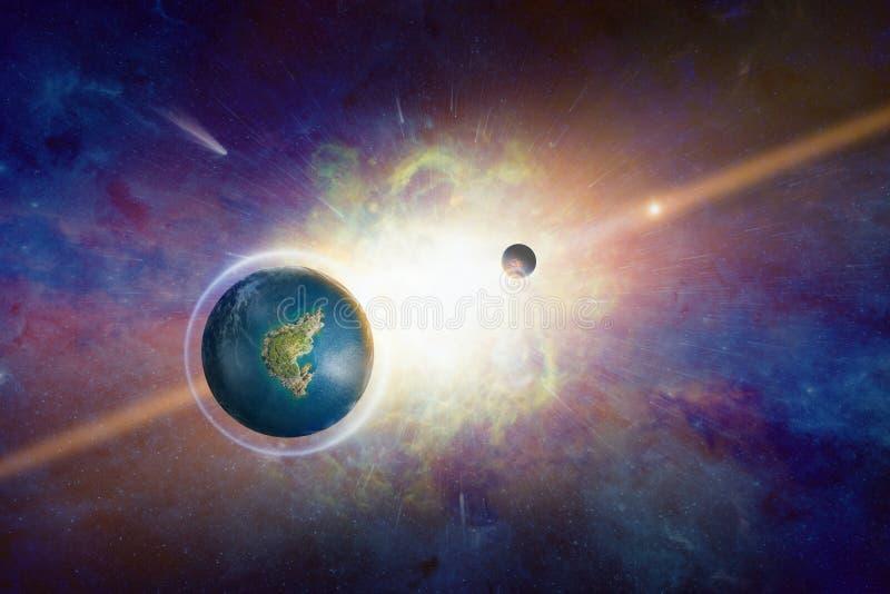 Erde ähnlicher möglicherweise bewohnbarer Planet mit flüssigem Wasser stock abbildung