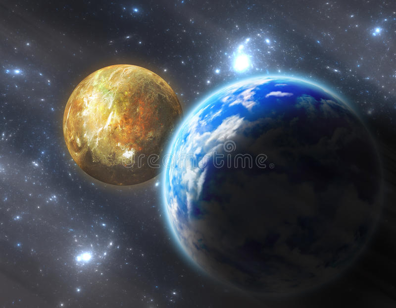 Erde ähnlicher Planet mit Mond vektor abbildung