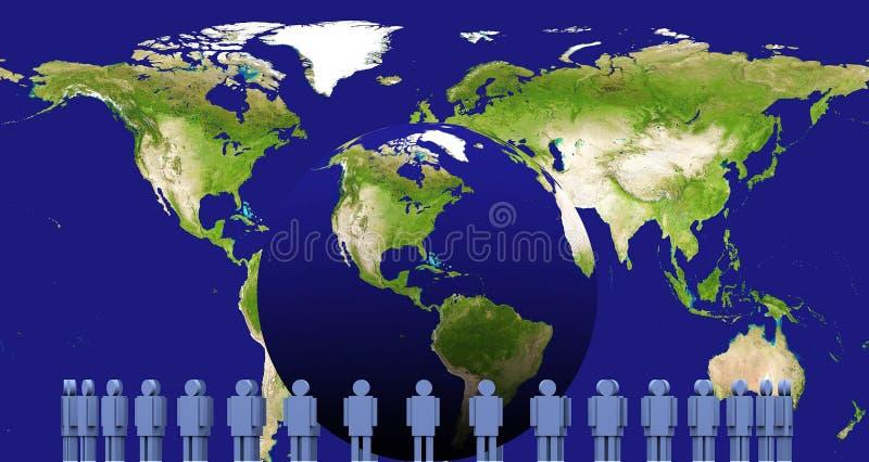 Erde 3d und Männer stock abbildung