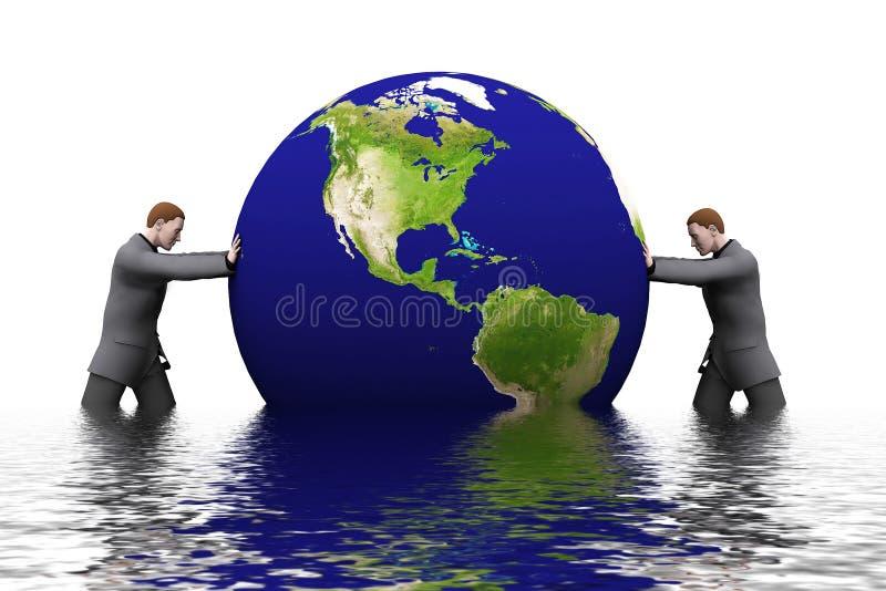 Erde 3d und Mann vektor abbildung