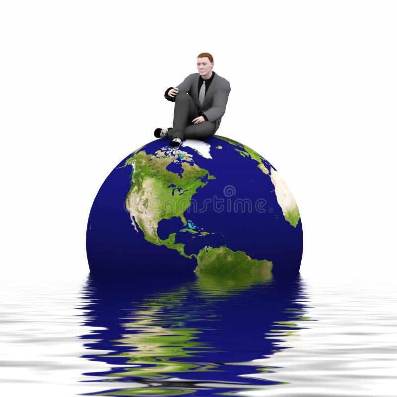 Erde 3d und Mann lizenzfreie abbildung