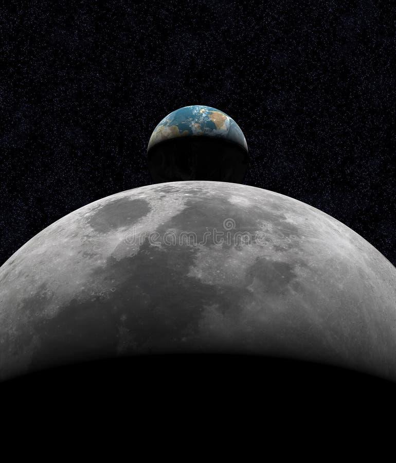Erde-Anstieg über Mond lizenzfreie abbildung