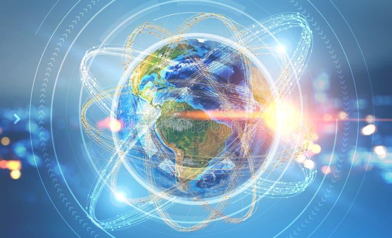 Erde in Atom hud über Nachtstadthintergrund vektor abbildung